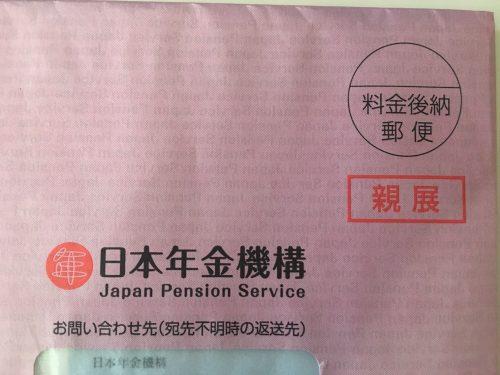 国民年金赤い封筒(ピンク)