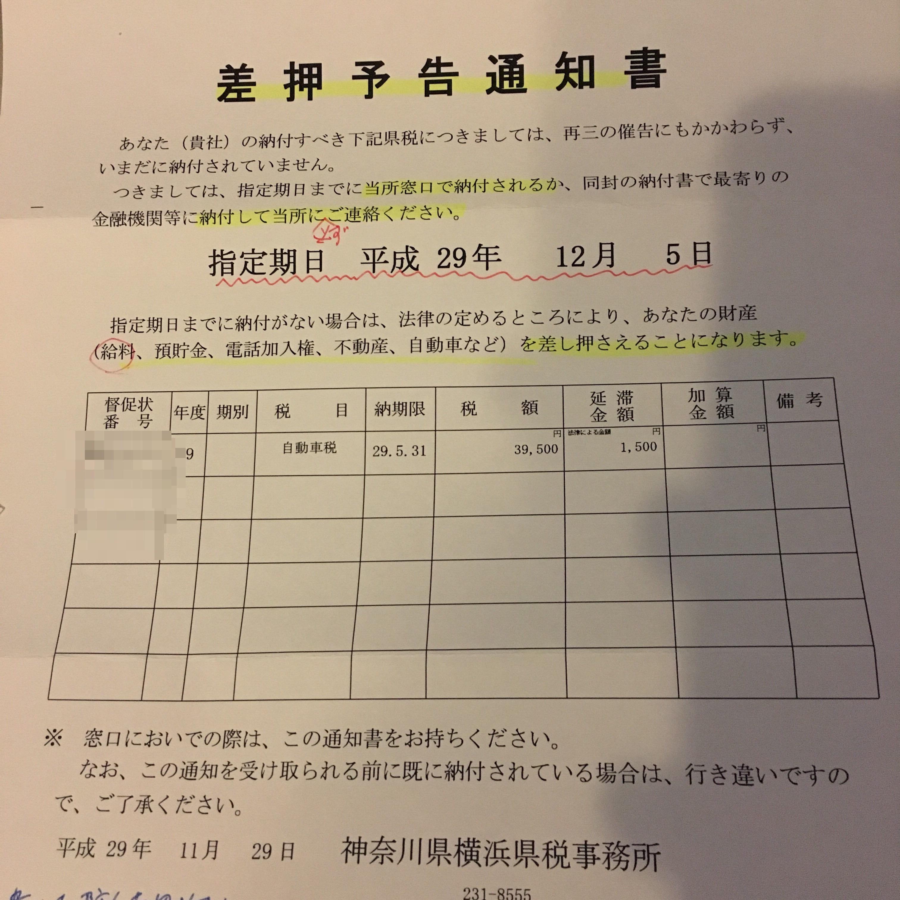 自動車税差押予告通知書