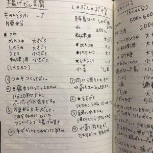 家計簿に書いたレシピ