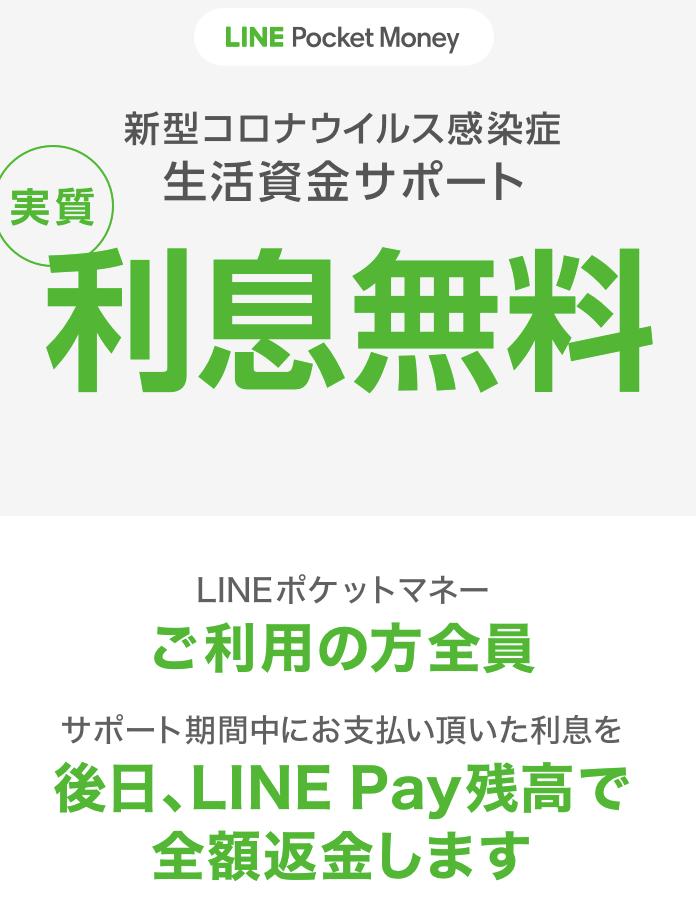 LINEポケットマネーの利息無料
